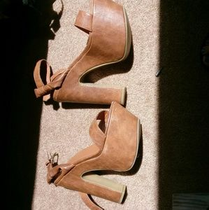 C label leather platform heels